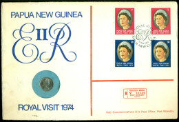 Papua New Guinea 1974 FDC With Coin Numbered No 50 Of 350 Registered - Papouasie-Nouvelle-Guinée