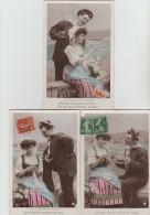 """3  CPA    """"La  Fiancée  Du  Marin  """"  Couple  Amoureux    (Stebbing  Phot. ) - Fantaisies"""