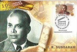 Maxim Card, India 2013,T R Sundaram,100 Years Of Indian Cinema, An Indian Film Actor, Director, And Producer - Cinema
