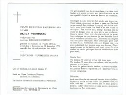 695 - Oudstrijser 1914-18 Vuurkruiser  Emile Therssen Geb Merkem 1892 + Roeselare 1975 - Images Religieuses