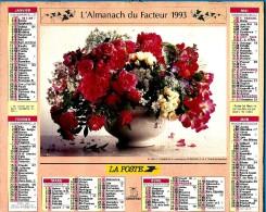 ALMANACH DES P.T.T 1993 (57)   -  Complet 2 VUES ** FLEURS EN VASES De C. ROSENFELD ** Calendrier * OBERTHUR * N° A23 - Calendriers