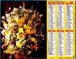 ALMANACH DES P.T.T 1992 (57)   -  Complet 2 VUES ** FLEURS EN VASES De C. ROSENFELD  ** Calendrier * LAVIGNE * - Calendriers