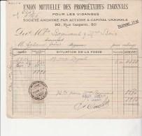 FACTURE TIMBREE UNION MUTUELLE DES PROPRIETAIRES LYONNAIS POUR LES VIDANGES - ANNEE 1914 - France