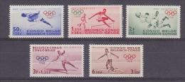 Belgisch Congo 1960 Olympische Spelen 5w ** Mnh (1w Met Klein Mat  Gompuntje) (27857) - Belgisch-Kongo