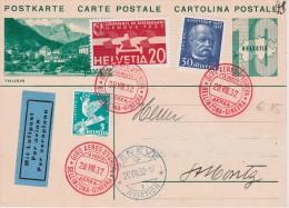 SUISSE 1932 ENTIER POSTAL CARTE VOL BELLINZONE-GENEVE - Interi Postali