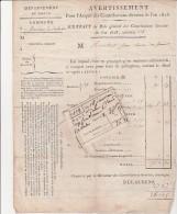 LETTRE A ENTETE DIRECTION GENERALE DE L'ENREGISTREMENT ET DES DOMAINES -NEVERS 1826 - Unclassified