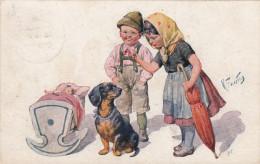 Feiertag Children With Teckel, Dachshund - Autres Illustrateurs