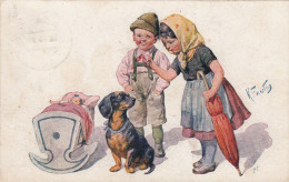 Feiertag Children With Teckel, Dachshund - Illustrateurs & Photographes