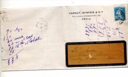 Lettre Facture Cachet Paris  Mercerie Ruban Varaut - Postmark Collection (Covers)