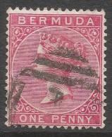 Bermuda. 1883-1904 Queen Victoria. 1d Used. Carmine Rose. Crown CA W/M SG 24 - Bermuda