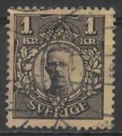 SWEDEN 1910 Gustav V -  1k. - Black On Yellow  FU - Suède