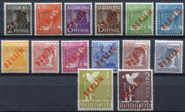 BERLIN  N°1/18 * TIMBRES DES ZONES A. A. S. DE 1947 (N°32/52) SURCHARGES BERLIN EN ROUGE (SIGNES) - Neufs