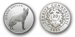AC - STRIPED HYENA ANIMAL OF TURKEY SERIES #4 COMMEMORATIIVE SILVER COIN 2005 PROOF UNCIRCULATED - Türkei