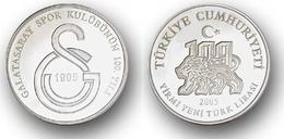 AC - CENTENARY OF GALATASARAY SPORTS CLUB # 1 FOOTBALL SOCCER COMMEMORATIVE SILVER COIN TURKEY 2005 PROOF UNCIRCULATED - Turchia