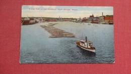 Log Raft On Penobscot River  Bangor Maine  Tug Boat==========  ====ref   32 - Schlepper
