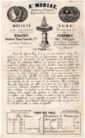 VP3473 - Document Commercial - Aen . MORIC Ferblantier , Lampiste , Hydraulicien à PARIS Bd Bonne Nouvelle & Ville Just - France