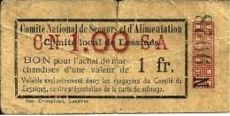 BELGIQUE  BELGIUM - LESSINES --> 1 Franc (Sans Date 1915-18) B+ - 1-2 Francs