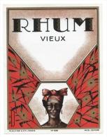 Ancienne Etiquette  Rhum  Vieux Plouviez Et Cie N°939 Femme Coiffe - Rhum