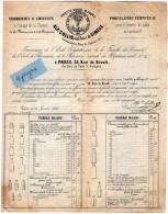 VP3475 - Document Commercial - Verreries , Cristaux - Porcelaines , Faiences Alp. COLLIN à PARIS Rue Rivoli - France