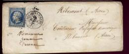 N°14 Sur Lettre Mooliens Vidame ( Molliens Dreuil) Pour Ribemont  PC 2022   M54 - 1849-1876: Periodo Classico