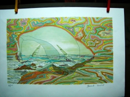 "LITHOGRAPHIE ORIGINALE SIGNEE NUMEROTEE SUR PAPIER VELIN ""surf Dans Coquillage"" - Lithographies"
