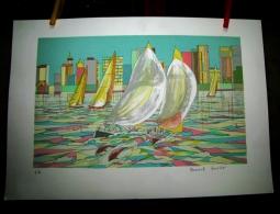 """LITHOGRAPHIE ORIGINALE SIGNEE NUMEROTEE SUR PAPIER VELIN """"course Avec Les Dauphins"""" - Lithographies"""