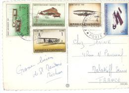 Série Avions TIMBRES Postes Oblitérés Sur Carte Postale Plus Cachet Glenn Curtiss Wright Ernest Archdeacon Bonnet Labran - Saint-Marin
