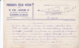 LETTRE En Petit Format De Ch. ADAM - Produits Félix POTIN - Rue Geoffroy  De  Pont-Blanc à LANNION (22) - Levensmiddelen