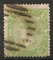 1865-ED. 78 ISABEL II 1 REAL VERDE- USADO PARRILLA - Used Stamps