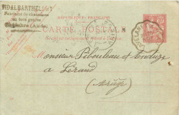 11 CHALABRE Fabricant De Chaussures  VIDAL Barthélémi  Entier Postal Mouchon 10c Rouge 1903   2 Scans - Francia