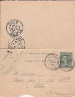 Le Luart (sarthe) -  Cachet Type 25 Sur Entier Postal :  Carte Lettre 15c Semeuse Lignée - - Postal Stamped Stationery