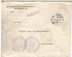SUIZA BERN 1923 CC MATY BUNDESHAUS CONSULAT GENERAL DE SUISSE BUDAPEST - Covers & Documents