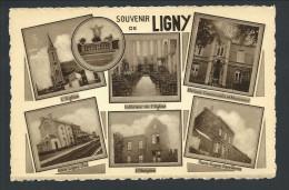 T. CPA - Souvenir De LIGNY - Multivues - Eglise - Gare - Hospice...  // - Sombreffe