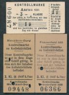 AR282 3 Fahrkarte Kontrollmarke Aarau SBB Frauenfeld SBB Menziken-Burg - Chemins De Fer