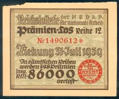 """Deutschland, Germany - """" REICHSLOTTERIE """", ORIGINAL - PRÄMIENSCHEIN, 1939 ! - [ 4] 1933-1945 : Third Reich"""
