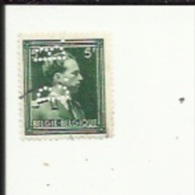 Timbre 5 Frs -Leopold III_Perforé ( B  B )  Bon Etat 1940 - Lochung