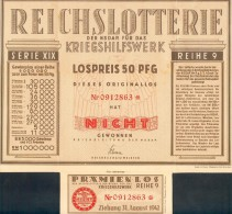 """Deutschland, Germany - """" REICHSLOTTERIE """", KRIEGSHILFSWERK, 1942 ! - Unclassified"""