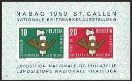 E)1959 SWITZERLAND, NABAG-  ST GALLEN,  NATIONAL PHILATELIC EXHIBITION, IMPERFORATED, SOUVENIR SHEET, MNH - Zwitserland