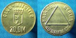 03059 GETTONE TOKEN JETON AMUSEMENT CLUB MITGLIED 20 DM SALAMBO BERLIN KU'DAMM 130 - Zonder Classificatie