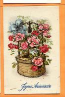 FAD-24  Joyeux Anniversaire, Puits Et Fleurs. Dorures En Relief. Circulé Sous Enveloppe - Anniversaire