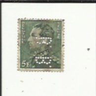 Timbre 5 Fr -Leopold III_Perforé ( B  B )  Bon Etat 1940 - Lochung