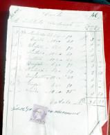 ITALIA REGNO ,1871, RICEVUTA CON MARCA DA BOLLO CENT 5 , VEII - Steuermarken