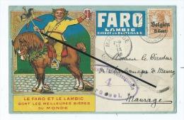 CPA - Le Faro Et Le Lambic Sont Les Meilleurs Bières Du Monde-Geuze En Bouteilles   Cachet Sur Le Devant- Cheval - Publicité