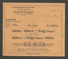 QX637 3kl Baden - Brugg (Aargau) - Koblenz 1934 Ausgbf Baden - Chemins De Fer