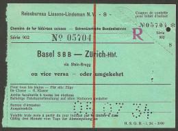 QX632 2kl Basel SBB - Zürich 1934 Reiseureau Lissone Lindeman - Chemins De Fer