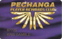 Pechanga Casino Calif - PRINTED Slot Card - 34mm Wide PPC Above Mag Stripe - Casino Cards