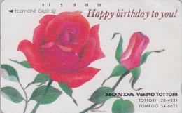 Télécarte Japon / 110-57178 - FLEUR ROSE ROUGE / HONDA * Birthday * - Flower Japan Phonecard - Blume Telefonkarte 1874 - Fleurs