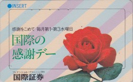 Télécarte Japon - FLEUR ROSE ROUGE - Flower Japan Phonecard - Blume Telefonkarte -  1877 - Fleurs