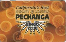 Pechanga Casino Calif - PRINTED Bingo Club Card - Casino Cards