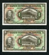 BILLETES BOLIVIANOS DE 1 BOLIVIANO DE 1928. - Bolivia